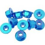 Flanged Aluminum 4mm Lock Nuts, Blue (10)