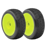 AKA 14007SRY 1/8 Buggy Impact Mounted Tires, Soft, Yellow (2)