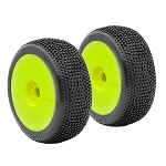 AKA 14007XRY Mounted 1/8 Buggy Impact Soft Long Wear Tires, Yellow Wheel