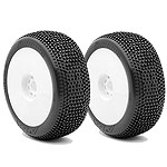 AKA 14007SRW 1/8 Buggy Impact Mounted Tires, Soft, White (2)
