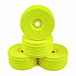 DE Racing Speedline Plus 1/8 Buggy Dish Wheel, Yellow (4)