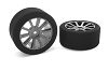 Attack Foam Tires, for 1/10 GP Touring, 35 Shore, 26mm Front, Carbon Rims