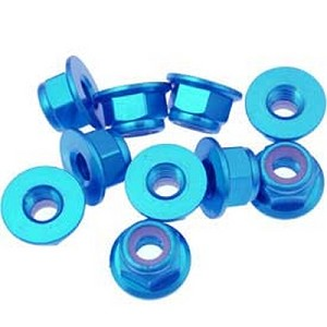 OFNA Flanged Aluminum 4mm Lock Nuts, Blue (10) 10985