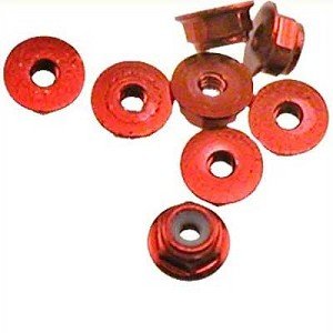 OFNA Flanged Aluminum 2mm Lock Nuts (10) Rose, 10992